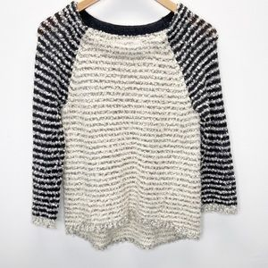 LOFT Striped Boucle Knit Pullover Sweater